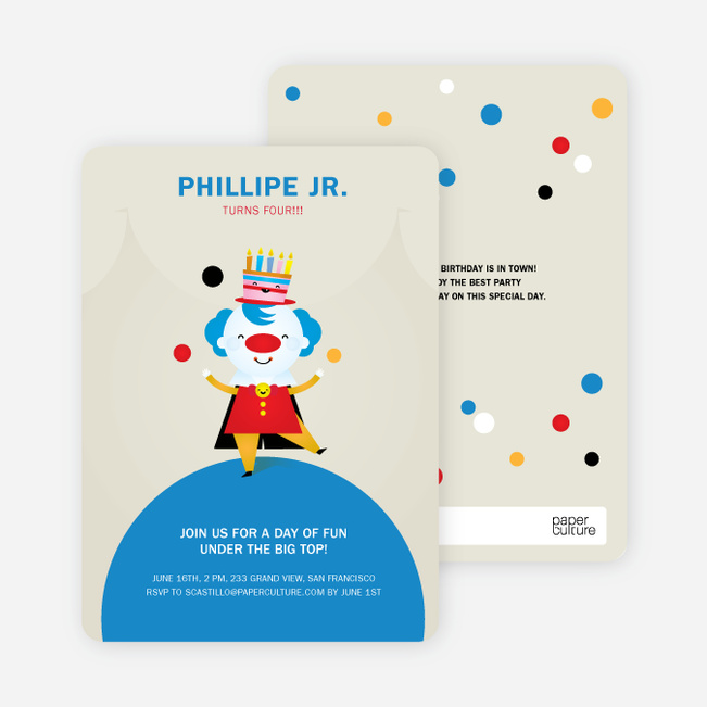 juggling clown birthday party invitations paper culture