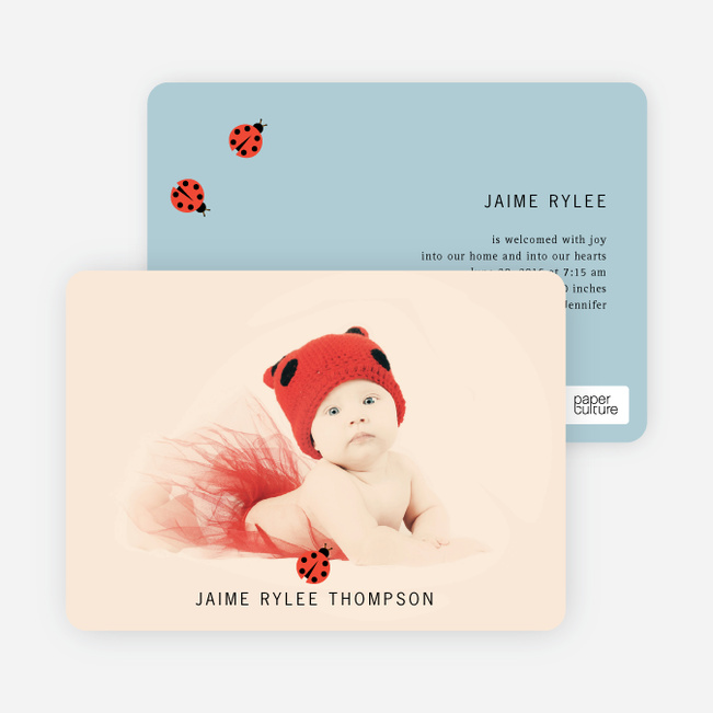 Ladybug Ladybug Photo Birth Announcements - Blue Egg