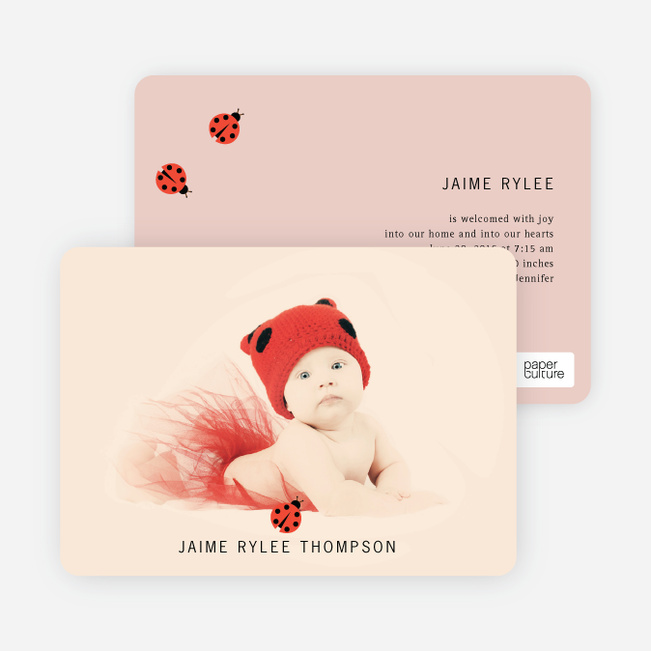 Ladybug Ladybug Photo Birth Announcements - Adobe