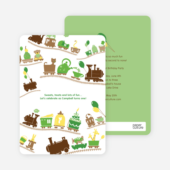 Little Engine that Would and Could Birthday Invitation - Apple Green