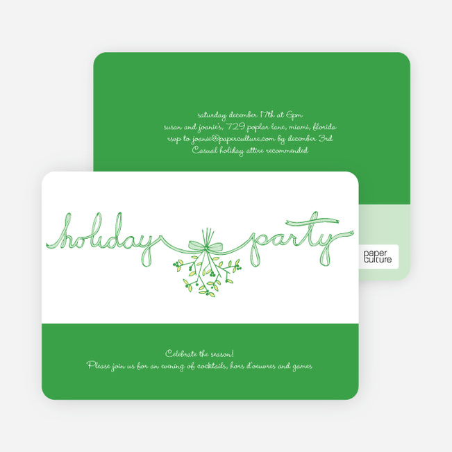 Mistletoe Ribbon Holiday Invitations - Shamrock