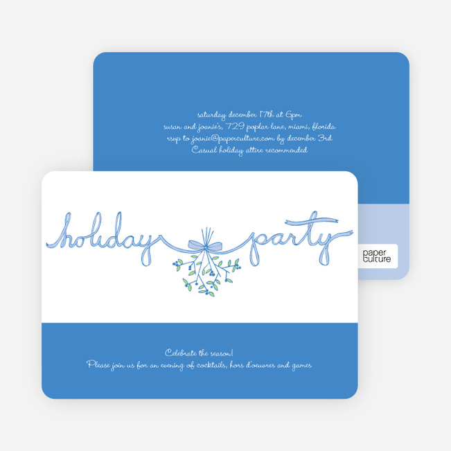 Mistletoe Ribbon Holiday Invitations - Royal Blue