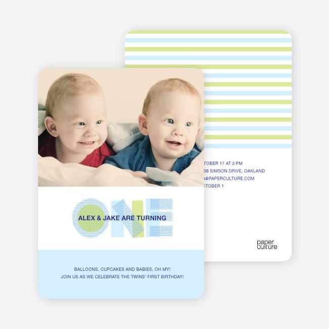 Modern Blue 1st Birthday Invitation - Baby Blue