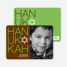 Modern HANUKKAH Photo Cards - Apple Green