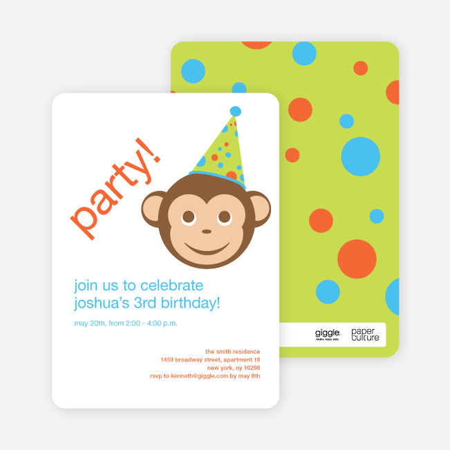 Monkey See Monkey Do Birthday Invitations - Light Brown