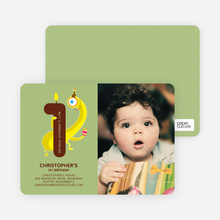 Monster Hiding Photo Birthday Party Invitation - Celadon Green