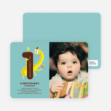 Monster Hiding Photo Birthday Party Invitation - Mint Blue