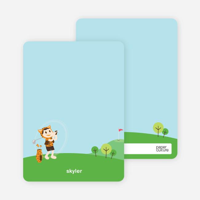 Note Cards: 'Tiger Golf Invitation' cards. - Pumpkin Orange
