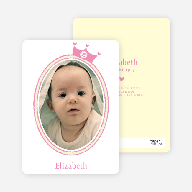 Princess Birth Announcements - Pink Princess