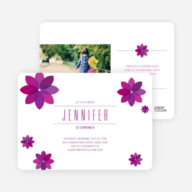 Purple Flower Modern Birthday Invitation - Grape Gum