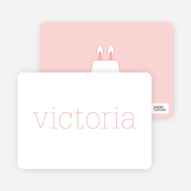 Rabbit Stripe Stationery and Note Cards - Carnation
