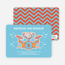 Rockstar Birthday Photo Invitations - Rock Star Blue