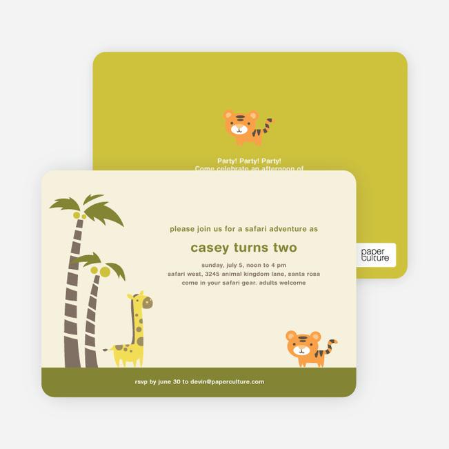 Safari Birthday Party Invitations - Palm Tree