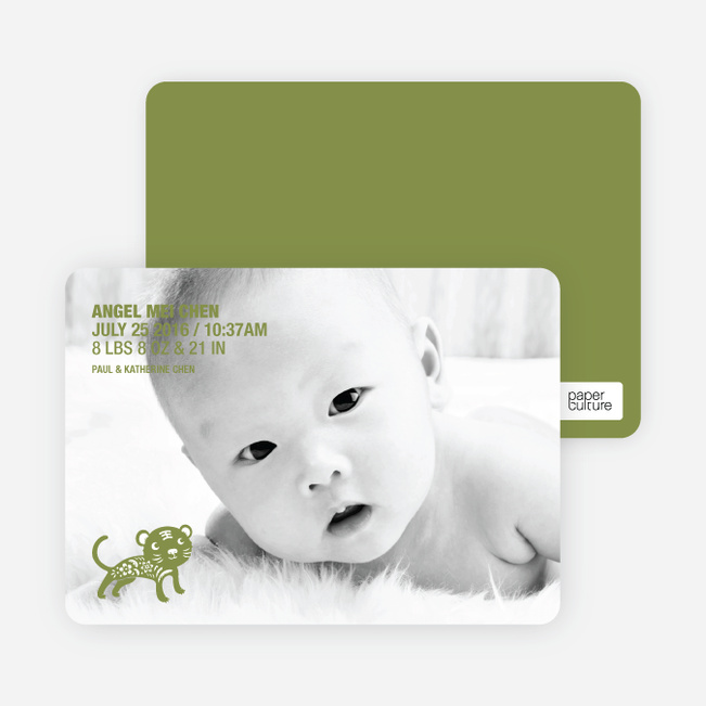 Simply Photos: Year of the Tiger Photo Baby Announcements - Olive Green