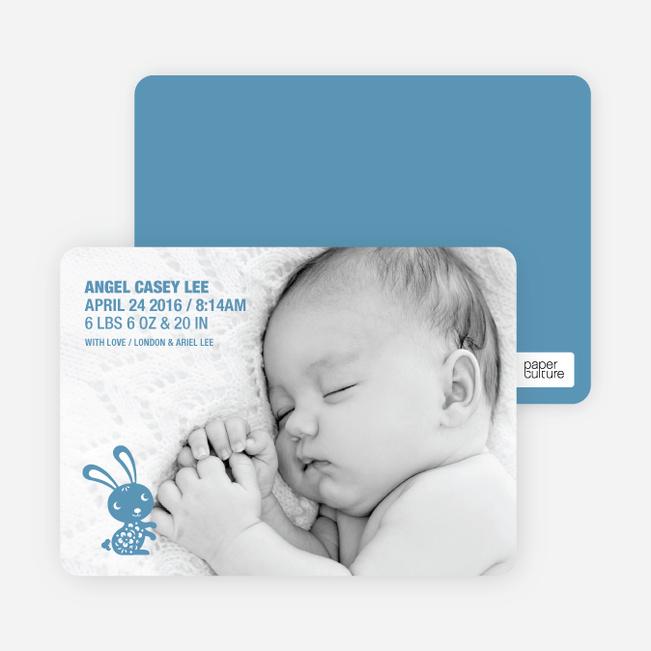 Simply Rabbit Photo Birth Announcements - Blue Rug Juniper