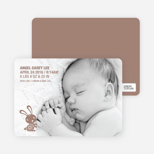 Simply Rabbit Photo Birth Announcements - Chocolate Bunny