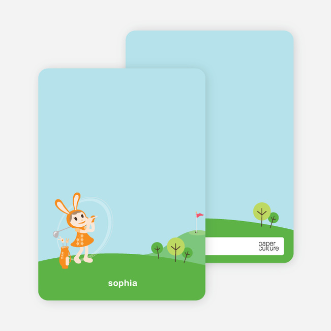 Stationery: 'Girl Golfer' cards. - Papaya Orange