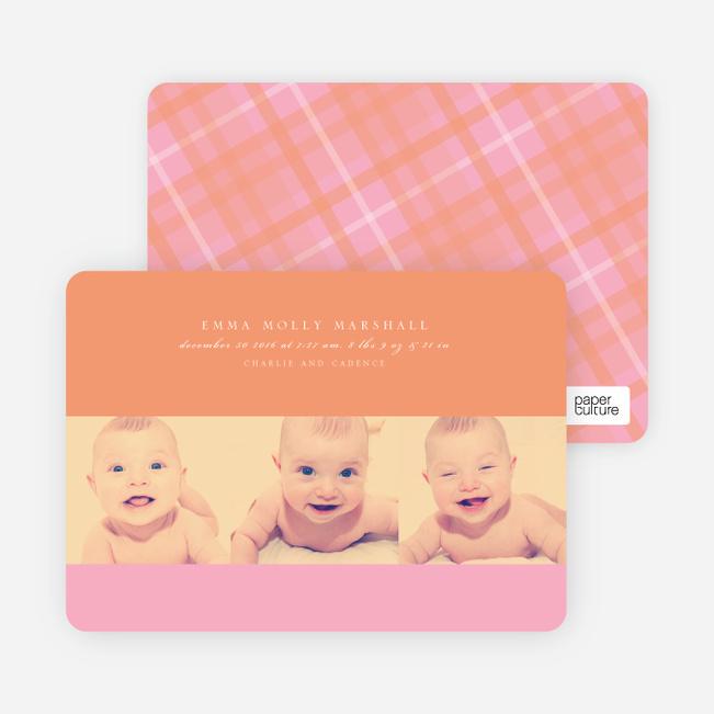 Studio Triple Birth Announcements - Orange Peach