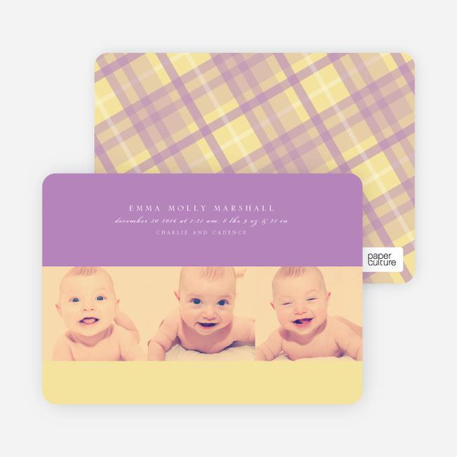 Studio Triple Birth Announcements - Royal Violet