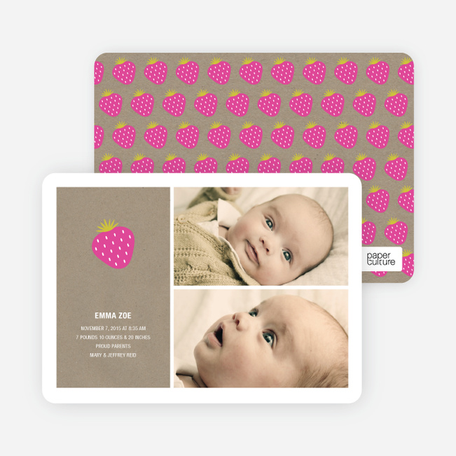 Sweet Strawberry Joy Birth Announcements - Hot Strawberry