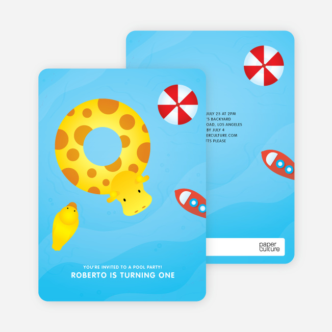 Swimming Pool Themed Birthday Party Invitations
