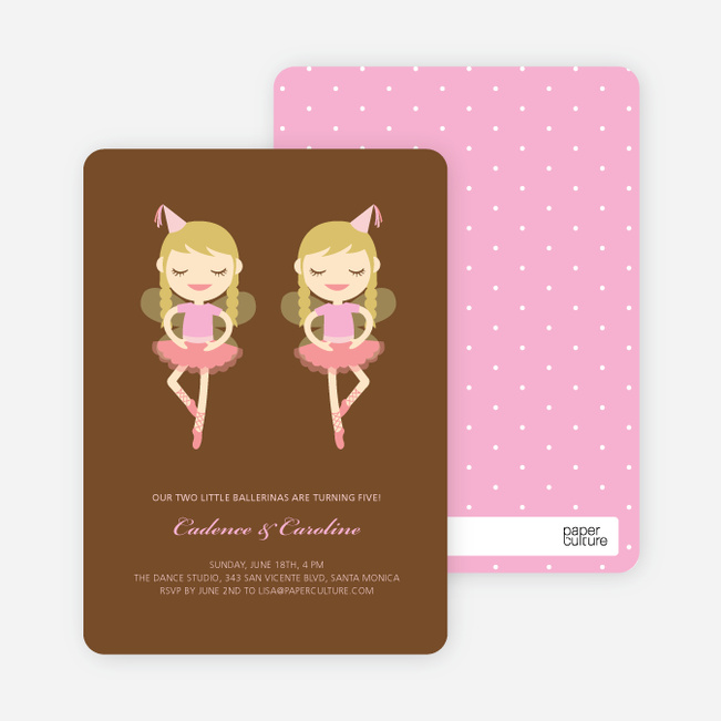 Twin Girl Birthday Invitations - Russet Brown