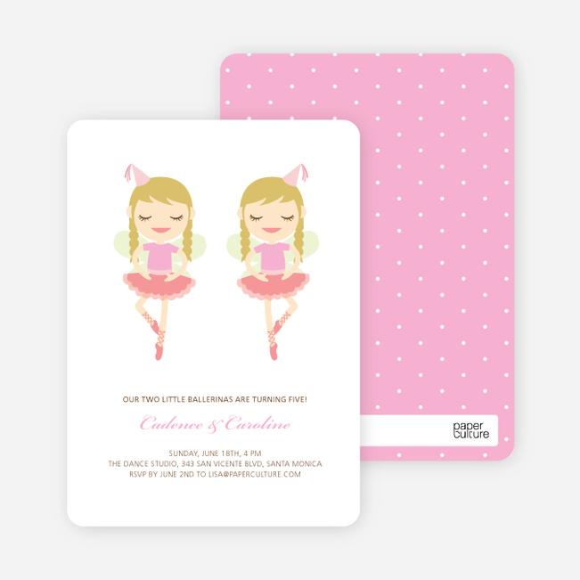 Twin Girl Birthday Invitations - Salmon