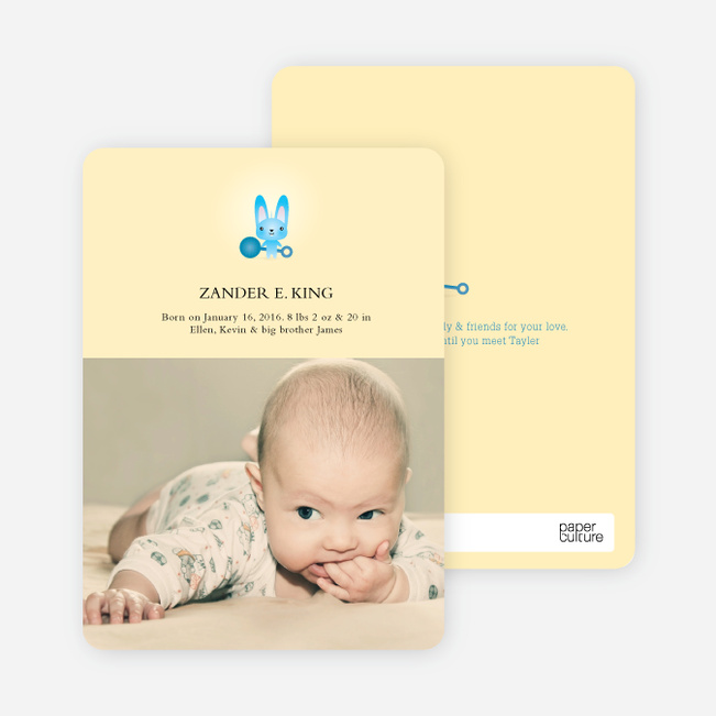 Wabbit the Ratting Rabbit Birth Announcements - Sky Gumdrop