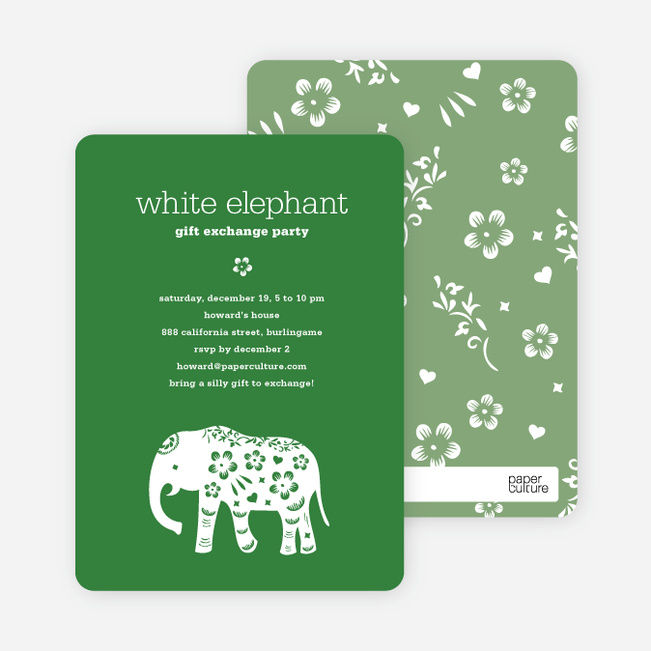 White Elephant Holiday Party Invitation (aka Secret Santa) - Forest Green