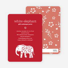 White Elephant Party Invitations - Strawberry Red