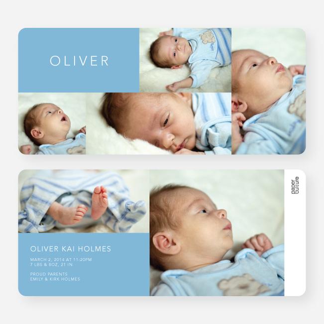 6 Photo Birth Announcements - Blue