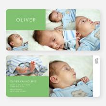 6 Photo Birth Announcements - Green