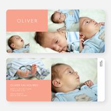 6 Photo Birth Announcements - Orange