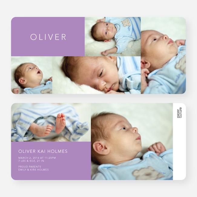 6 Photo Birth Announcements - Purple