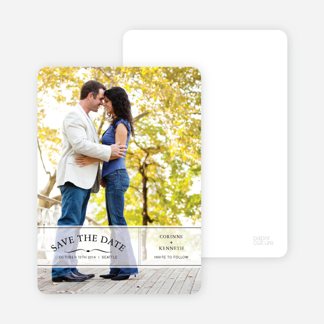 Banner Announcement Save the Date Photo Cards - White