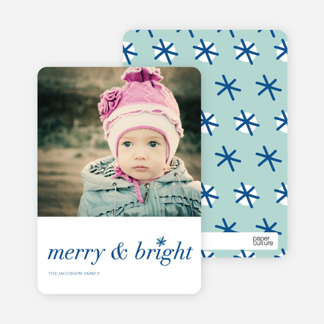 Snowflake Holiday Cards: Merry & Bright - Blue