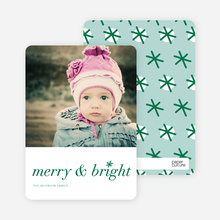 Snowflake Holiday Cards: Merry & Bright - Green