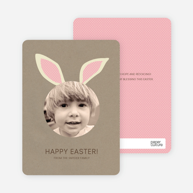 Bunny Ears Easter Photo Cards - Tea Rose