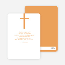 Simple Cross Baptism Note Card - Orange