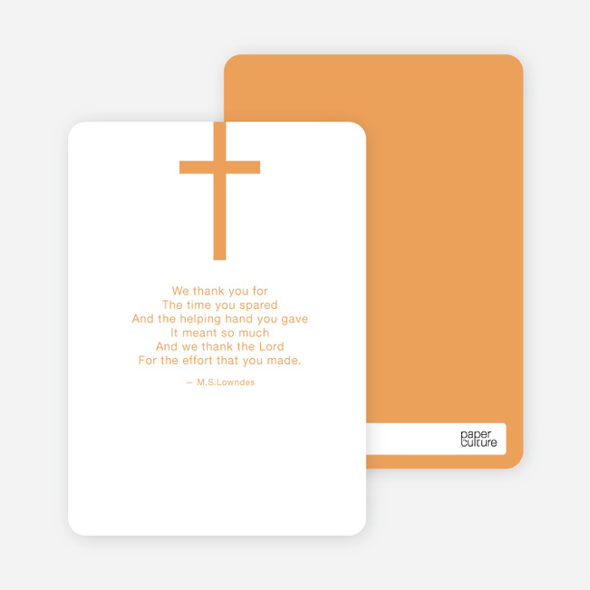 Stationery: 'Simple Cross Baptism' cards. - Orange