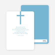 Simple Cross Baptism Note Card - Blue