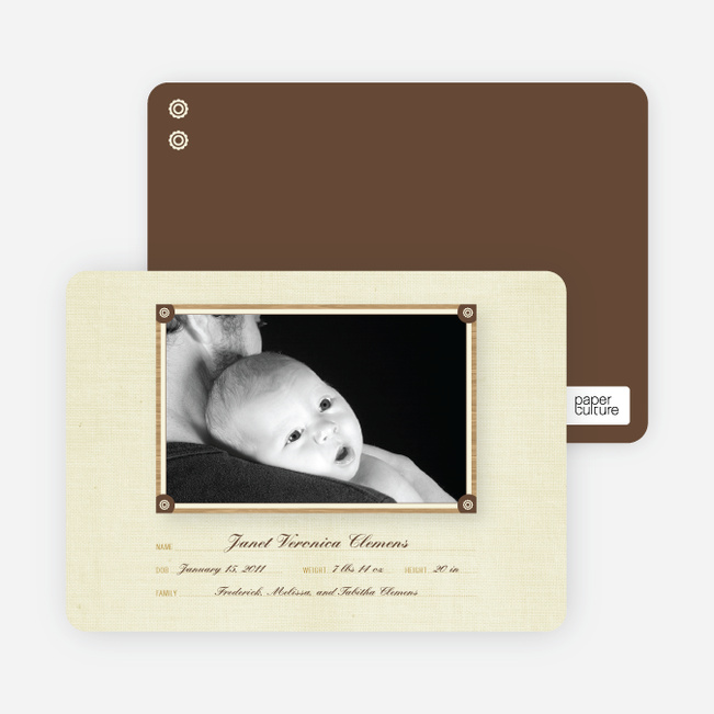 Birth Announcements: Wallpaper Photo Frame - Champagne
