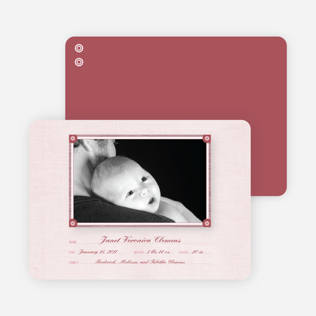 Wallpaper Photo Frame Birth Announcements - Pale Blush