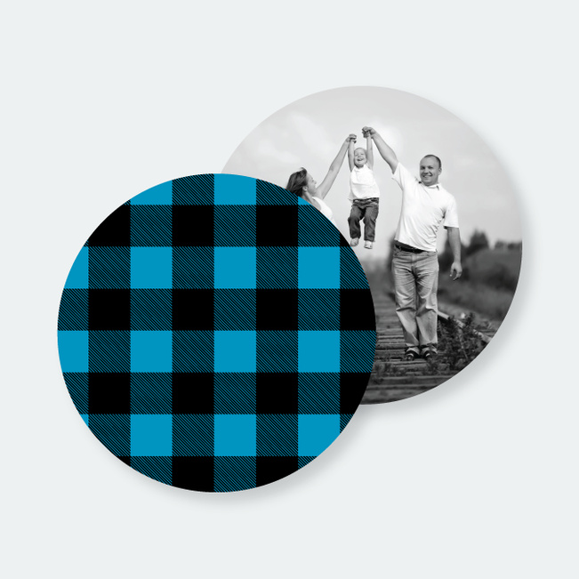 Custom Plaid Coasters - Blue