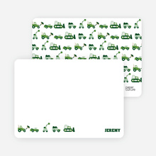 Personal Stationery for Dump Truck, Forklift & Bulldozer Birthday Invitation - Forest Green