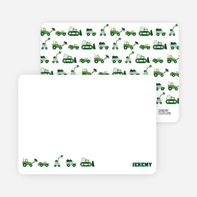 Personal Stationery for Dump Truck, Forklift & Bulldozer Birthday Invitation - Forest Green