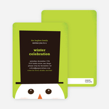 Snowman Hat Holiday Invitations - Apple Green
