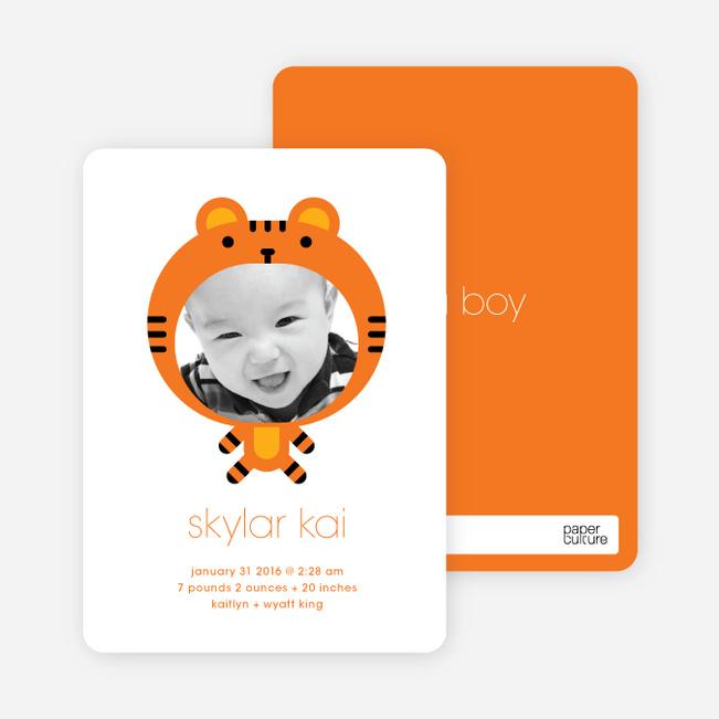 Tiger: Animal Photo Birth Announcement - Carrot Orange