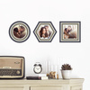Circle, Hexagon and Square, Modern Stripe Photo Frame Decals - Gray