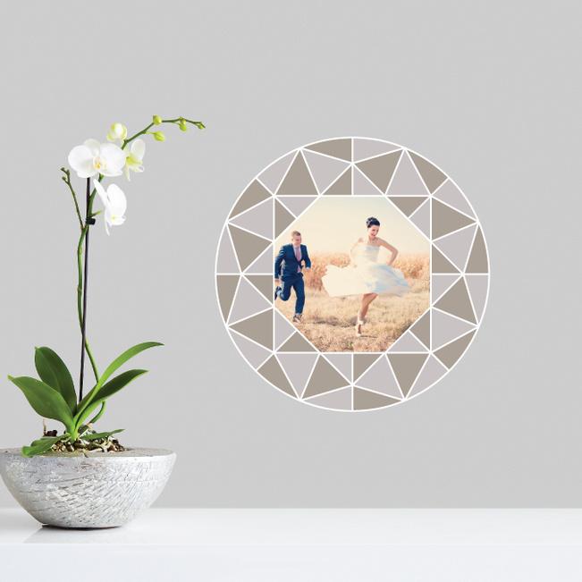 Circle of Diamonds Photo Wall Decals - Gray